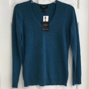 Charter Club Cashmere Teal V-Neck Sweater NWT
